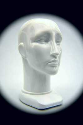 Unisex Head Form Mannequin Display. Rigid White Plastic.