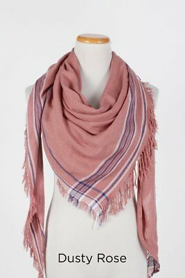 (Solid Triangle Scarf w/ stripe border fringe Wrap Shawl Dusty Rose Soft NEW)