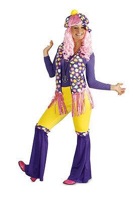 Hippie Damen Kostüm Blümchen 70 er Jahre Weste Schlaghose Mütze Flower Power - Kostüm Damen Mütze