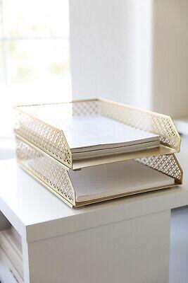 Blu Monaco Gold Paper Tray - Set Of 2