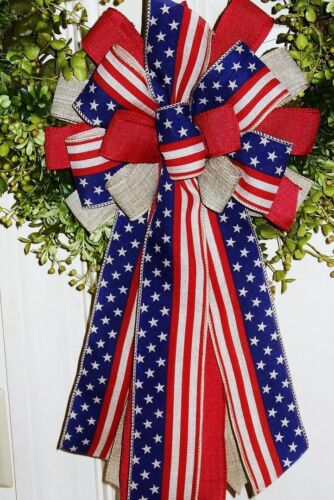 MEMORIAL DAY JULY 4th, PATRIOTIC, OLD GLORY BOW WIRED RIBBON / WREATH # 51