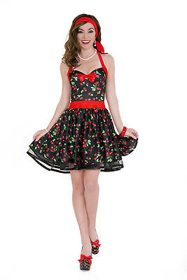 MUSIC LEGS Sexy Cherry Retro Girl 2PC. Halter Cherry Print Pin Up Dress (Cherry Girl Kostüme)