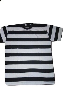 Mens T-Shirt Striped Black White Swagger Convict Robber XXLarge Boys