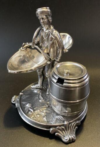 Antique Silver Figural Condiment Stand Austria Salt & Pepper w/ Mustard Pot
