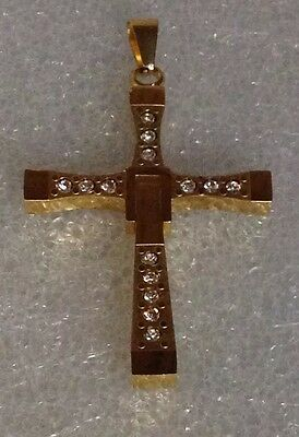 best seller designer stainless Steel Cross Pendant gold plated cubic