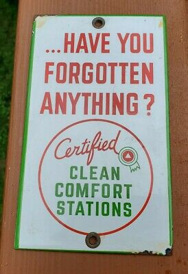 VINTAGE CERTIFIED CLEAN RESTROOMS PORCELAIN DOOR PUSH SIGN PURE TEXACO FORD
