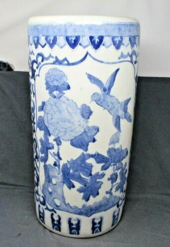 Vintage Chinese Oriental Blue&White Floral Design Ceramic Umbrella Stand Holder