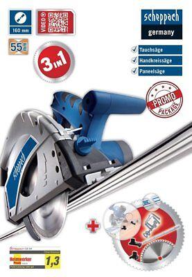 Scheppach Tauchsäge CS55 +1 Führungsschine 140cm+Zubehörpaket+2.Sägeblatt PL55
