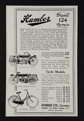 1921 Humber Flat-Twin Motorcycles & Standard Bicycle vintage print Ad