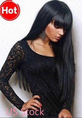 Straight Black Wig (US New Style Women Girls Sexy Long Straight Black Wig Full Hair Wigs+Wig)