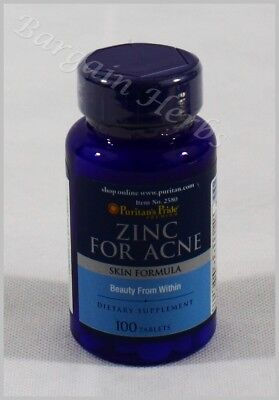 Puritan's Pride Zinc For Acne Skin Formula 100 tablets New Sealed Free Shipping ()