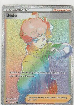 BEDE 207/202 Pokemon Sword & Shield RARE TRAINER Full Art Foil SECRET RARE