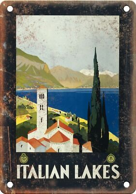"""Italian Lakes Vintage Travel Poster Art 12"""" x 9"""" Reproduction Metal Sign T31"""