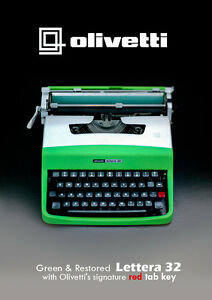 SALE-GREEN-SILVER-OLIVETTI-LETTERA-32-Vintage-Working-Typewriter