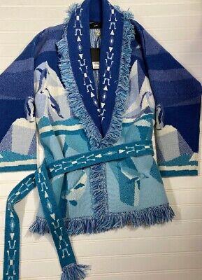 Alanui blue white polar bear cashmere ice fringe cardigan coat XS NWT $3510