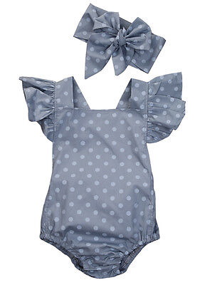 Newborn Baby Girl Polka Dot Romper+Headband Jumpsuit Sunsuit Summer 2Pcs Clothes