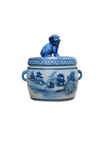 """Cute Blue and White Blue Willow Motif Porcelain Canister Foo Dog Top 7"""""""