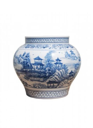 """Blue and White Blue Willow Porcelain Flower Vase 8"""""""