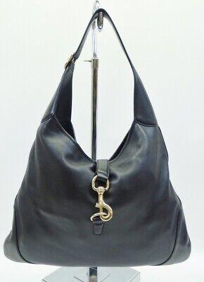 ad220e337b9490 Gucci Black Soft Leather Jackie Hobo Shoulder Bag Handbag Purse