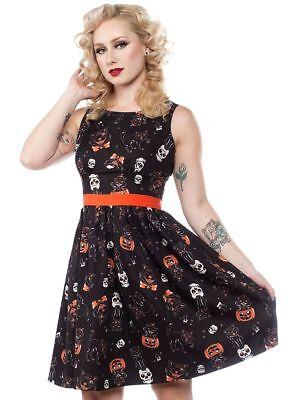 Sourpuss Black Cats Ghost Pumpkin Halloween Shift Dress Costume Pinup Retro - Ghost Pumpkin