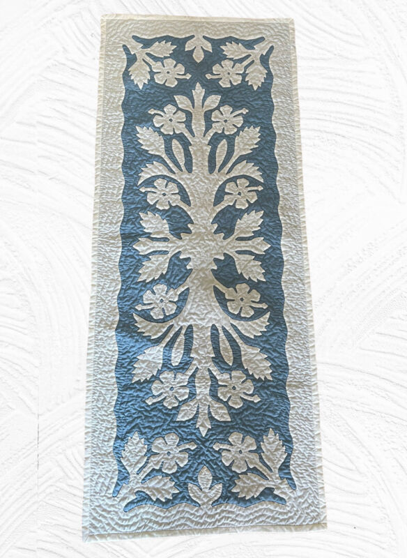 Hawaiian Quilt Hand Quilted Appliquéd Handmade Table Bed Runner Hibiscus