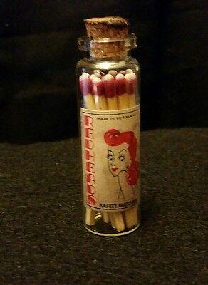 - Wooden Match Glass  Bottles Redheads Tall....Artist Handcrafted..Nice