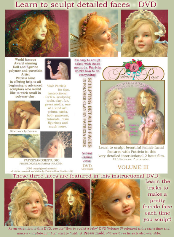 SCULPT TINY DETAILED DOLL FACES 2 hour DVD by Patricia Rose
