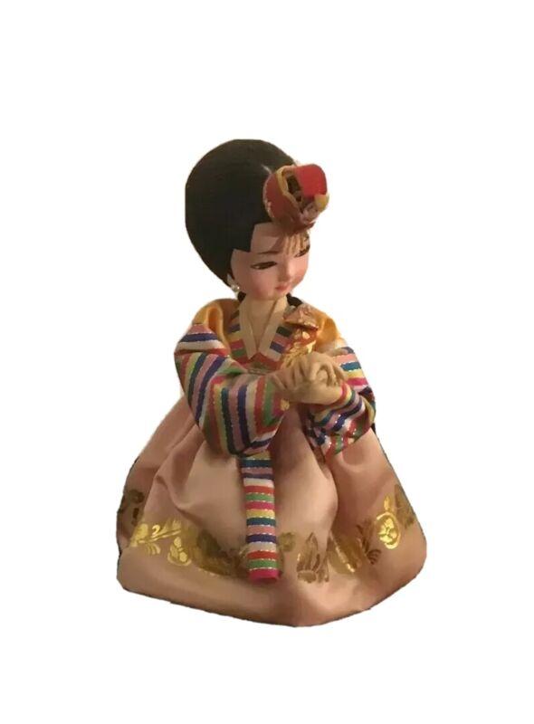 "Vintage Shin Jin Sa Korean Native Doll Traditional Wedding Mounted 7"" Beautiful"