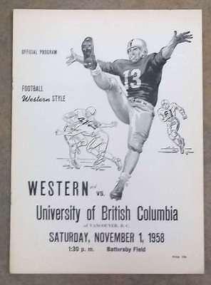 U. OF BRITISH COLUMBIA @ W. WASHINGTON COLLEGE FOOTBALL PROGRAM - 1958 - EX - U Of Washington Football