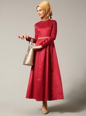 Maxi abaya dress,NWT,UK size 8/10, red, Turkish designer, gold bead detail