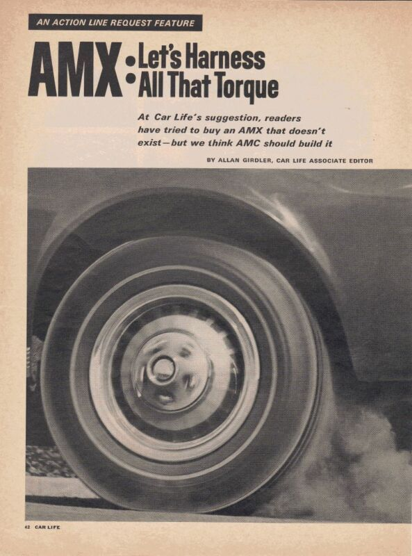 1968 AMC AMX ~ ORIGINAL 2-PAGE ARTICLE / AD