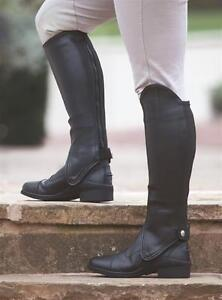 Shires-Synthetic-Equi-Leather-Show-Gaiters-Adults-Horse-Riding-Half-Chaps