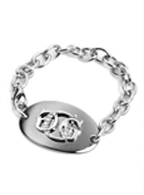 Guess Oval Bracelet (NWT Guess Silver Metal & Black Metal-Clear Rhinestones Oval Plaque 3G logo )