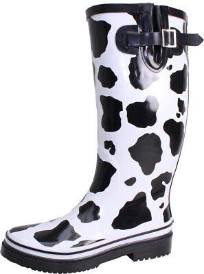 Bockstiegel Damen Gummistiefel Kuh Kuhflecken schwarz weiß Langschaft Gr. 36-42