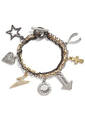 NWT Guess Mixed Metals-Triple Strand-Multi Charms Various Toggle Bracelet