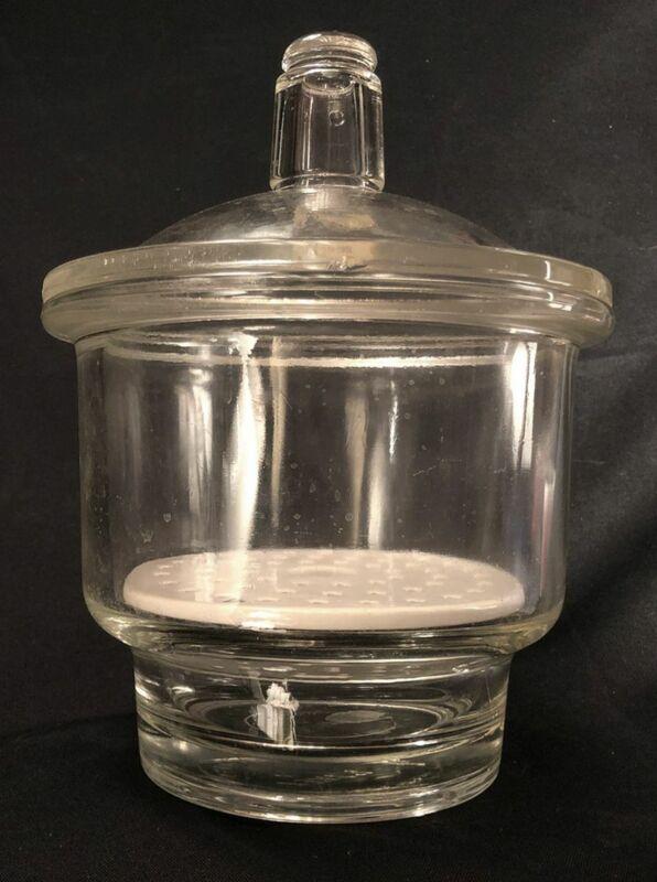 Vintage Pyrex Desiccator Lab Jar with Lid & Coors Porcelain Insert