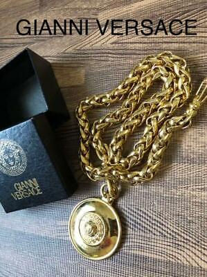 GIANNI VERSACE Necklace Gold GP Chain Medusa Greca Pendant authentic