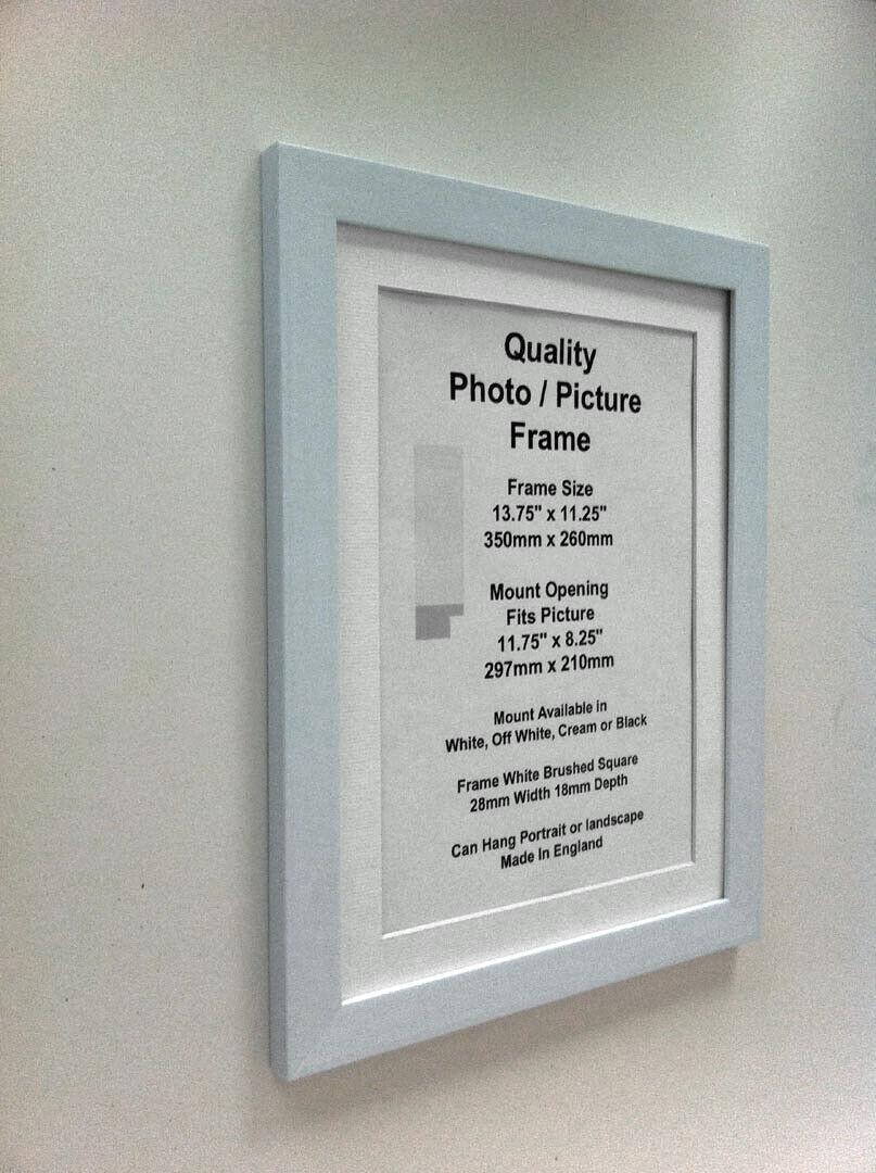 "Blanc Cadre Photo 19 mm 12x12/"" 12x13/"" 12x14/"" 12x15/"" 12x16-20/"" Support Verre"