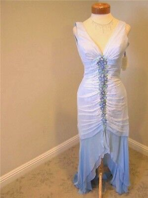 ALYCE  New Pageant prom social formal  Silk Ocean Blue ombre Hi Lo Dress 4