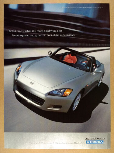 2001 Honda S2000 silver car photo vintage print Ad