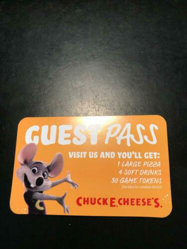 2 Chuck E Cheese's Gift Card Certificate Large Pizza 4 Drinks 30 Tokens $60Value