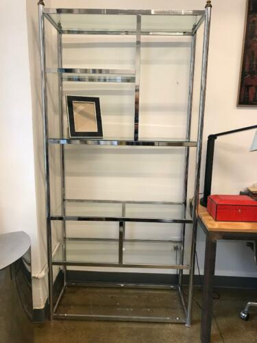 Pair Of Mid Century Chrome Display Shelve Etageres