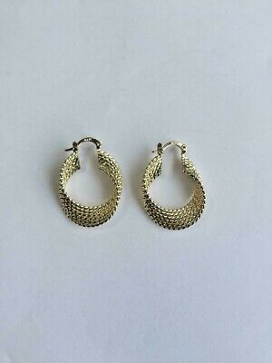 14 K GOLD PLATED HOOP EARRINGS TWISTED WIRE W/ SWIVEL BAR SNAP IN CLOSING J 385 14k Gold Plated Wire