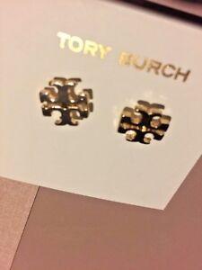 TORY BURCH 16K GOLD PL PLUS  T LOGO STUD EARRINGS FOR PIERCED EARS