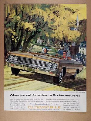 1963 Oldsmobile Dynamic 88 Convertible illustration art vintage print Ad