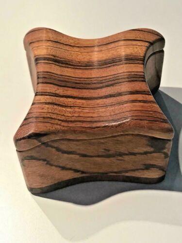Fred & Marilyn Buss Zebra Wood & Walnut Trinket Box California Organic Design