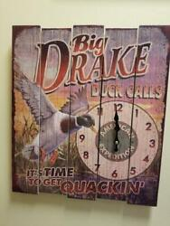 American Expedition Big Drake duck calls Wooden Sign Wall Clock