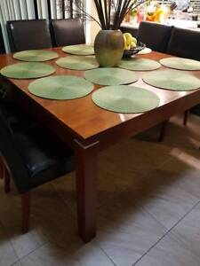 Square Solid Timber Dining Table with 8 chairs