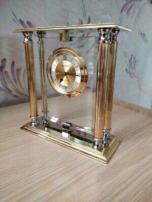 Vintage Danbury Brass Chrome Glass Quartz Mantel Desk Clock REPAIR OR PARTS ONLY