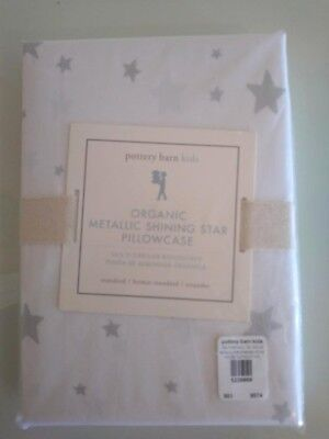 pottery barn kid Metallic SILVER SHINING STAR ORGANIC pillow case Gray Girl Boy